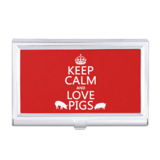 Keep Calm and Love Pigs (all colours) Business Card Holder