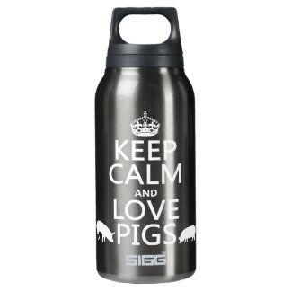 Keep Calm and Love Pigs (all colours) Insulated Water Bottle