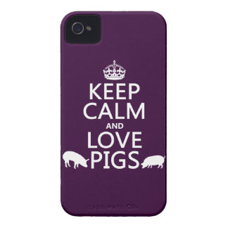 Keep Calm and Love Pigs (all colours) iPhone 4 Covers