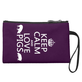 Keep Calm and Love Pigs (all colours) Wristlet