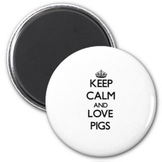 Keep calm and Love Pigs 6 Cm Round Magnet