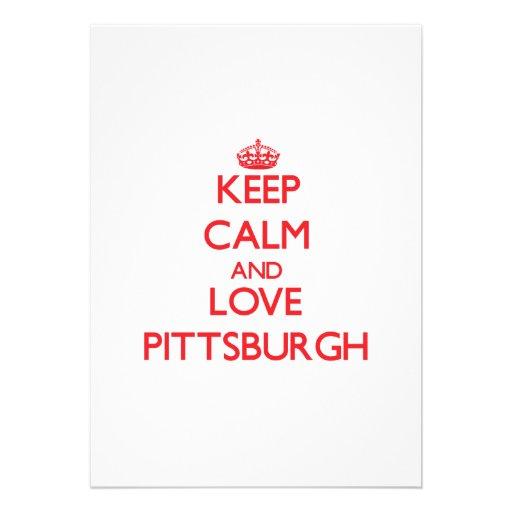 Keep Calm and Love Pittsburgh Custom Invites