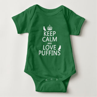 Keep Calm and Love Puffins (any background color) Baby Bodysuit