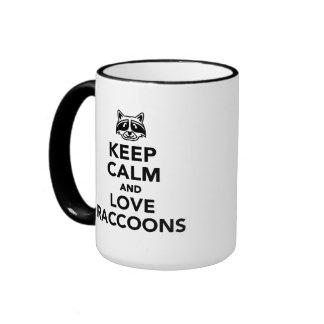 Keep calm and love raccoons mug