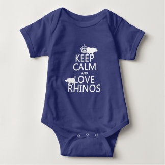 Keep Calm and Love Rhinos (any background color) Baby Bodysuit