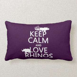 Keep Calm and Love Rhinos (any background color) Lumbar Cushion