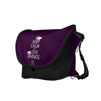 Keep Calm and Love Rhinos (any background color) Messenger Bag