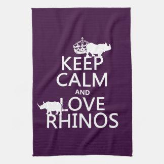 Keep Calm and Love Rhinos (any background color) Tea Towel