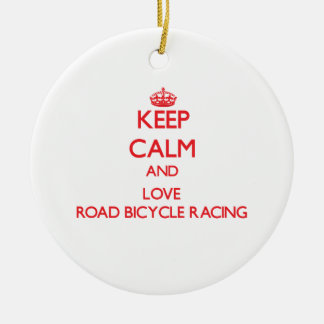 Keep calm and love Road Bicycle Racing Christmas Tree Ornaments