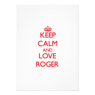 Keep Calm and Love Roger Personalized Announcements