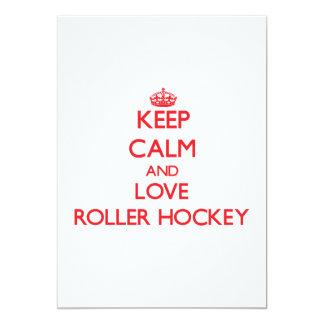 Keep calm and love Roller Hockey Invitation