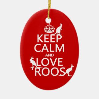 Keep Calm and Love Roos (Kangaroos) Christmas Ornament
