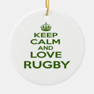 Keep Calm And Love Rugby Christmas Ornament