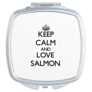 Keep calm and love Salmon Compact Mirrors