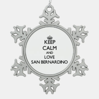 Keep Calm and love San Bernardino Snowflake Pewter Christmas Ornament