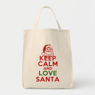 Keep Calm and Love Santa Grocery Tote Bag