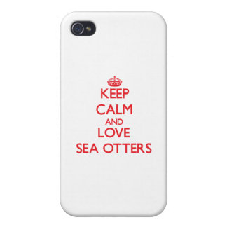 Keep calm and love Sea Otters Case For iPhone 4
