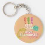 Keep Calm and Love Seahorses Gift Unique Design Basic Round Button Key Ring
