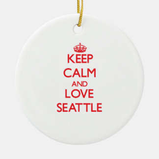 Keep Calm and Love Seattle Round Ceramic Decoration
