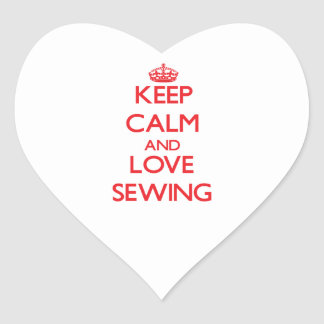 Keep calm and love Sewing Heart Sticker