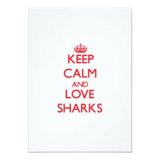 Keep calm and love Sharks 13 Cm X 18 Cm Invitation Card