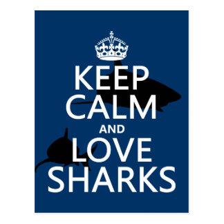 Keep Calm and Love Sharks (customizable colors) Postcard