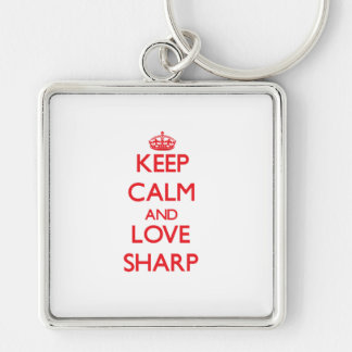 Keep calm and love Sharp Silver-Colored Square Key Ring