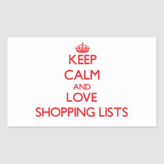 Keep calm and love Shopping Lists Stickers