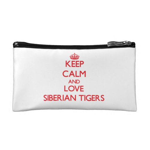 Keep calm and love Siberian Tigers Cosmetic Bags
