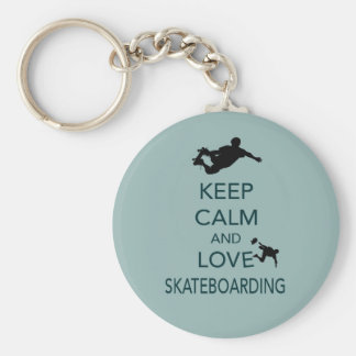 Keep Calm and Love Skateboarding unique print Key Ring