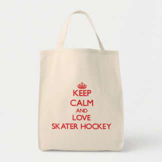Keep calm and love Skater Hockey Tote Bags