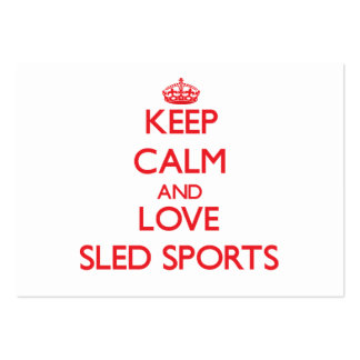 Keep calm and love Sled Sports Business Card Templates