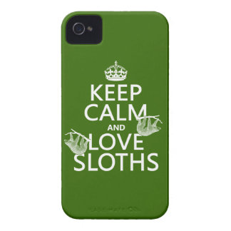 Keep Calm and Love Sloths (any background color) iPhone 4 Case-Mate Cases