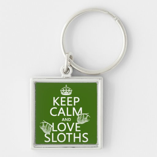 Keep Calm and Love Sloths (any background color) Key Chain