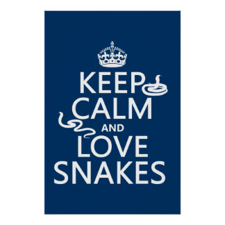 Keep Calm and Love Snakes (all colors) Poster
