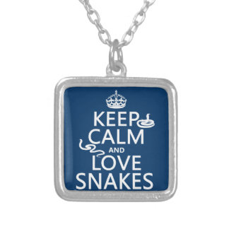 Keep Calm and Love Snakes (all colors) Silver Plated Necklace