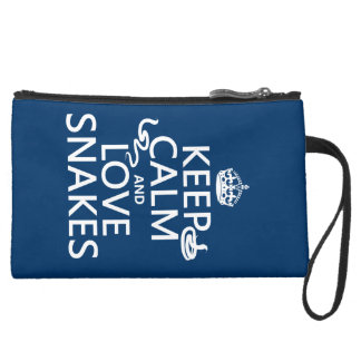 Keep Calm and Love Snakes (all colors) Suede Wristlet