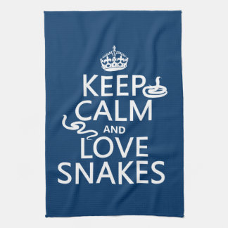 Keep Calm and Love Snakes (all colors) Tea Towel