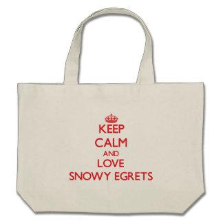 Keep calm and love Snowy Egrets Canvas Bags