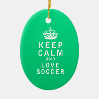 Keep Calm and Love Soccer Ceramic Oval Decoration
