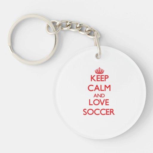 Keep calm and love Soccer Keychains