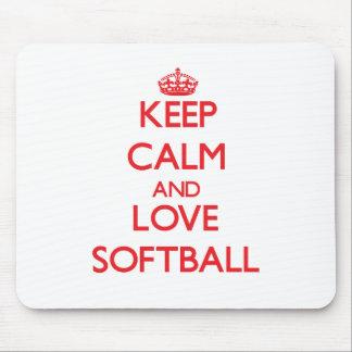 Keep calm and love Softball Mousepad