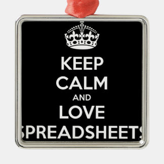 KEEP CALM AND LOVE SPREADSHEETS Silver-Colored SQUARE DECORATION
