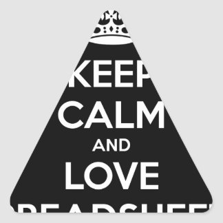 KEEP CALM AND LOVE SPREADSHEETS TRIANGLE STICKER