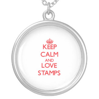 Keep calm and love Stamps Personalized Necklace