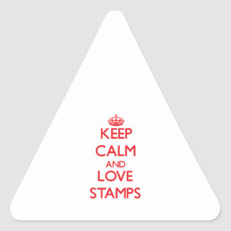 Keep calm and love Stamps Triangle Sticker