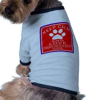 Keep Calm And Love Standard American Eskimo dog Doggie Tshirt