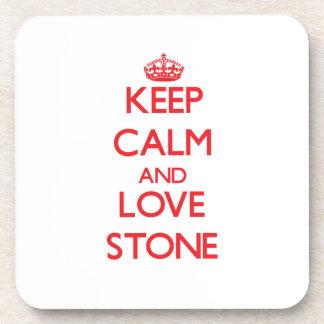 Keep calm and love Stone Beverage Coaster