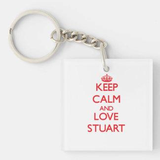 Keep calm and love Stuart Key Chains