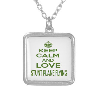 Keep Calm And Love Stunt Plane Flying Personalized Necklace